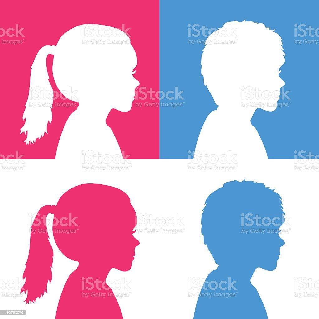 Girls and Boys vector art illustration