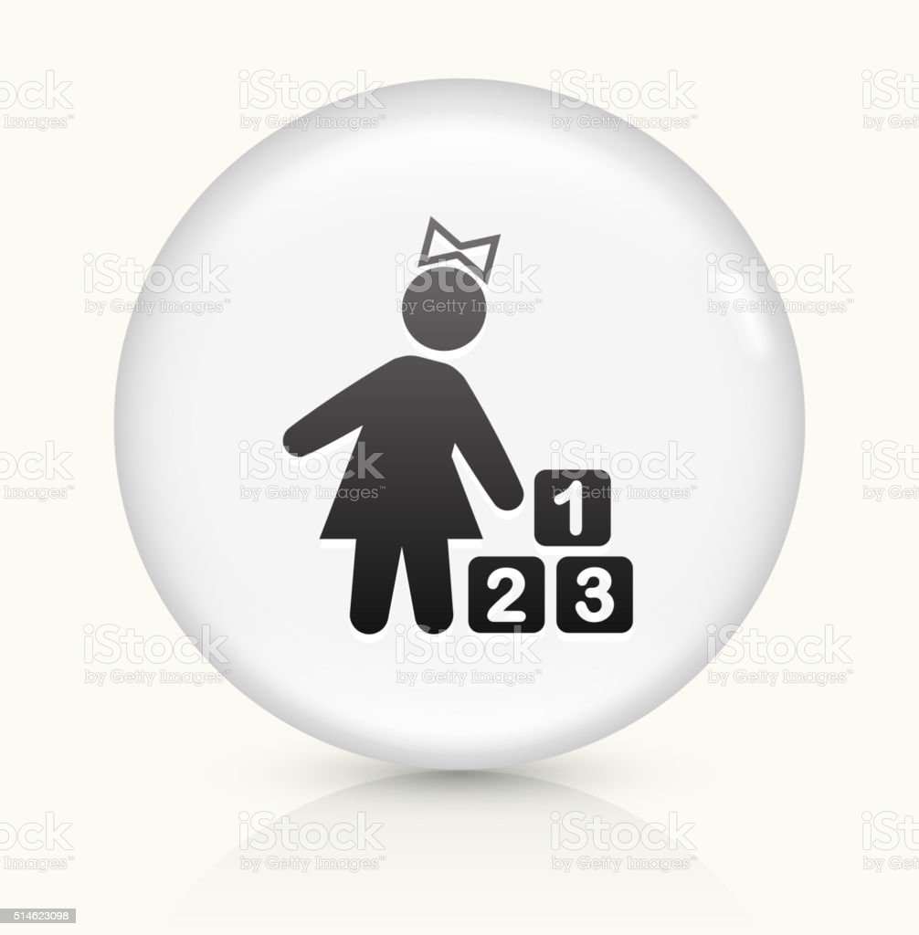 Girls and Toys icon on white round vector button vector art illustration