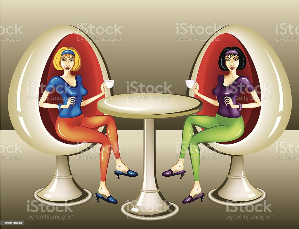 Girls at coffee royalty-free stock vector art