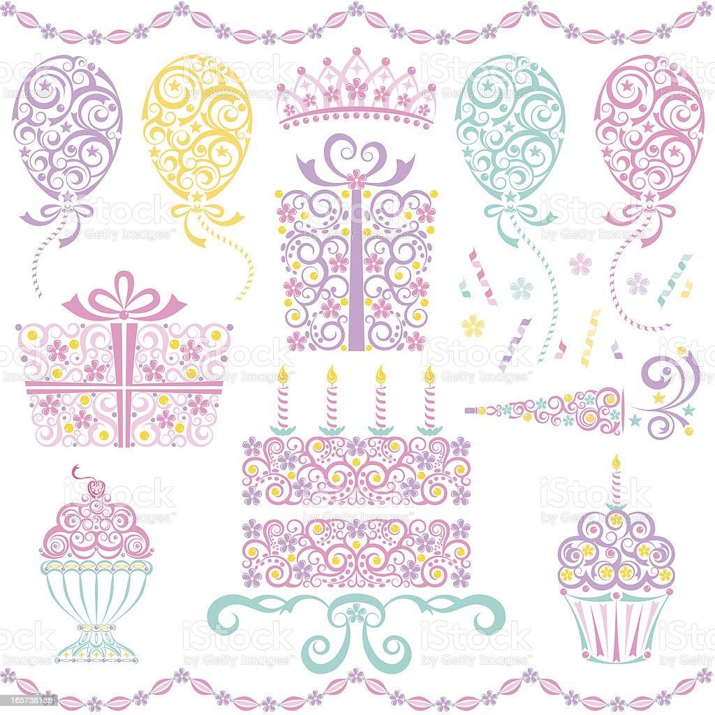 Girls Birthday Party Set vector art illustration