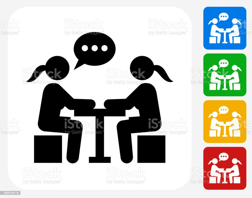 Girls Chatting Icon Flat Graphic Design vector art illustration