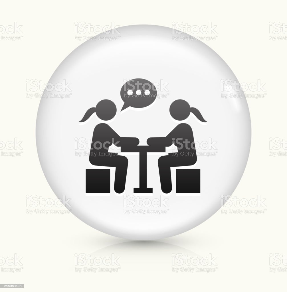 Girls Chatting icon on white round vector button vector art illustration