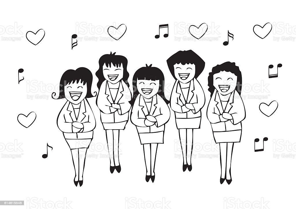 Girls chorus in action. Hand drawing illustration. vector art illustration