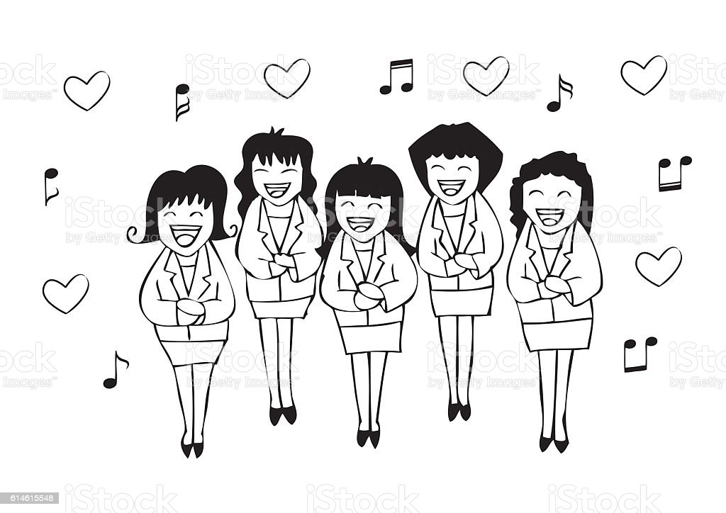 Girls chorus in action. Hand drawing illustration. vector art illustration