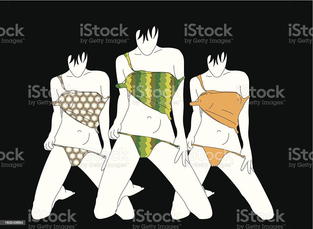 3 Girls Coloured royalty-free stock vector art