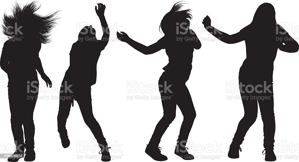 Girls dancing vector art illustration