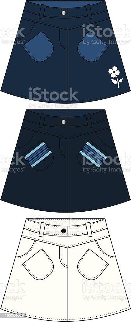 Girls Denim Style Skirt vector art illustration