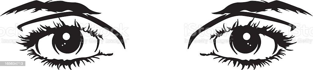 Girls Eyes in Black and White vector art illustration