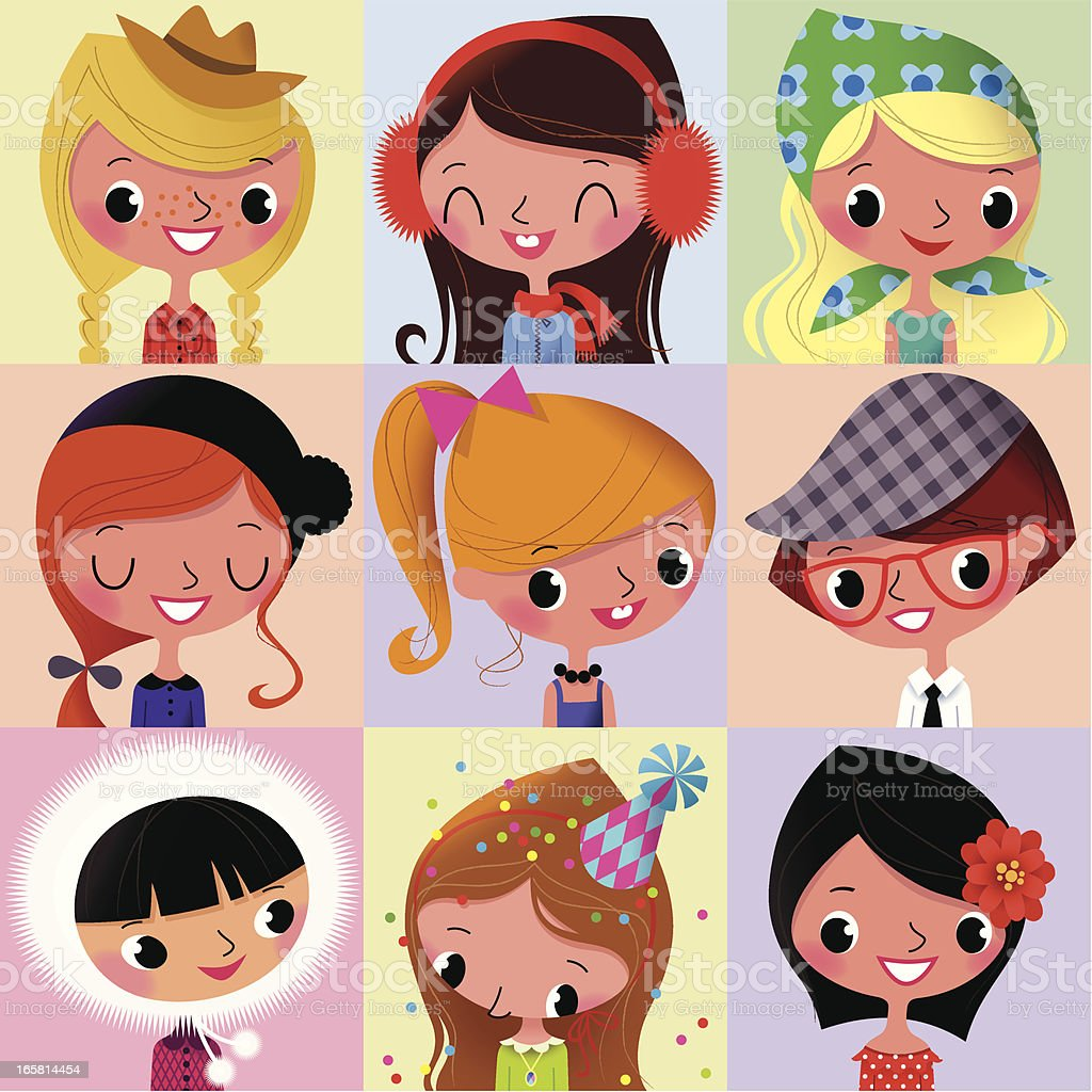Girls Faces Collection_I. vector art illustration