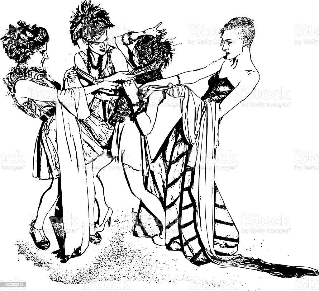 Girls Fighing vector art illustration