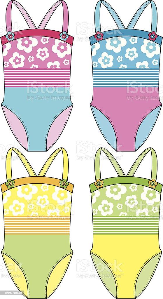 Girls Flower & Stripe Design Swimsuit royalty-free stock vector art
