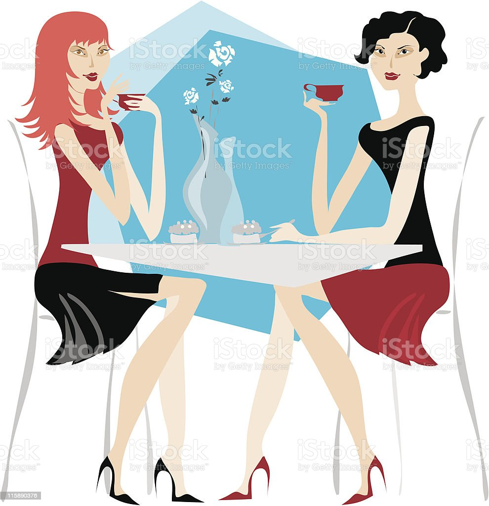 Girls having coffee royalty-free stock vector art