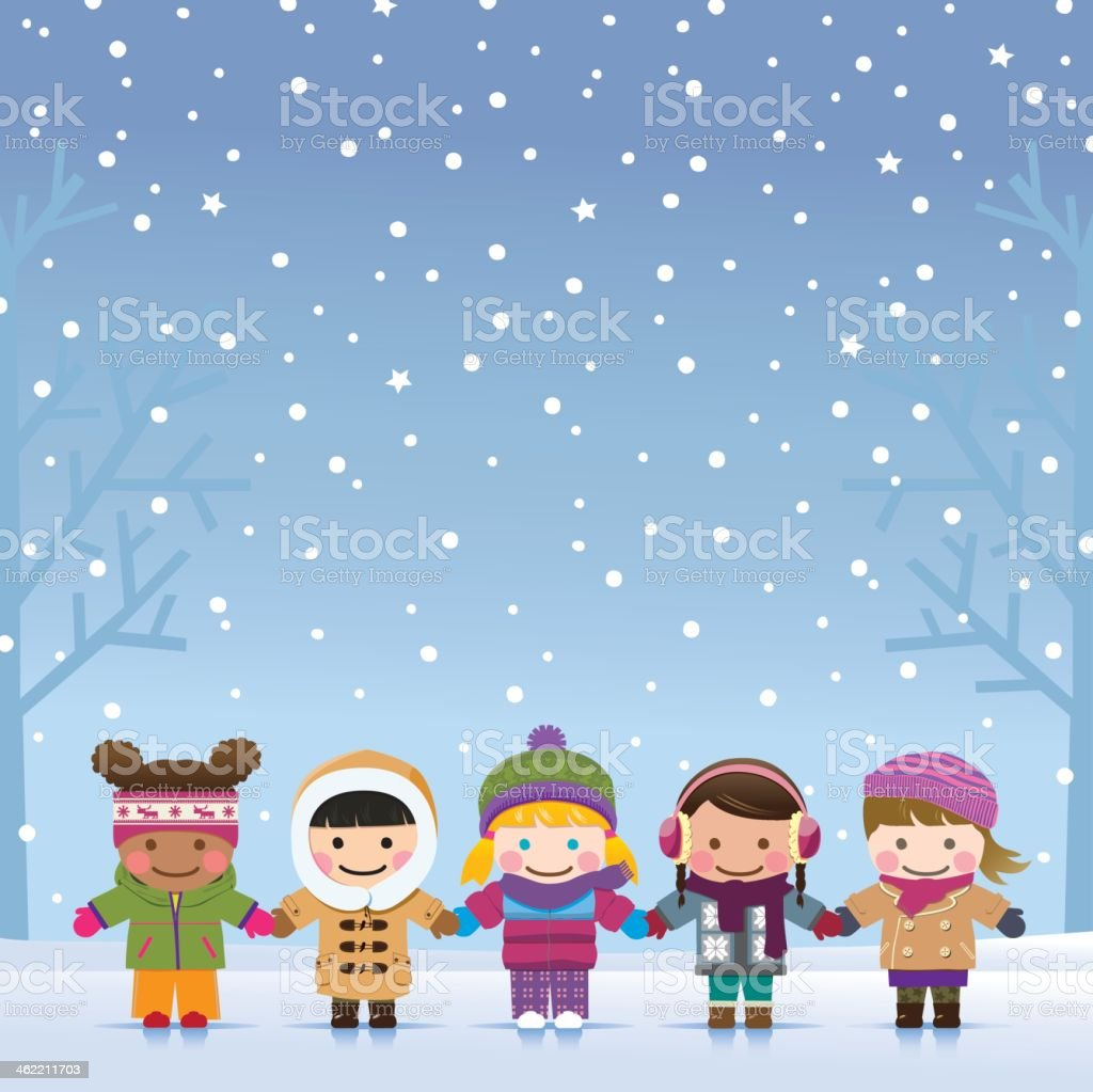 Girls holding hands outside in the winter snow vector art illustration