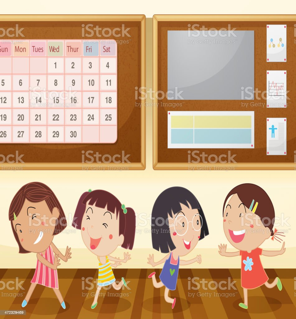 Girls in classroom royalty-free stock vector art