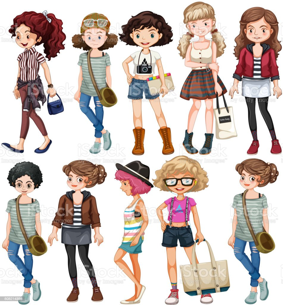 Girls in different clothings vector art illustration
