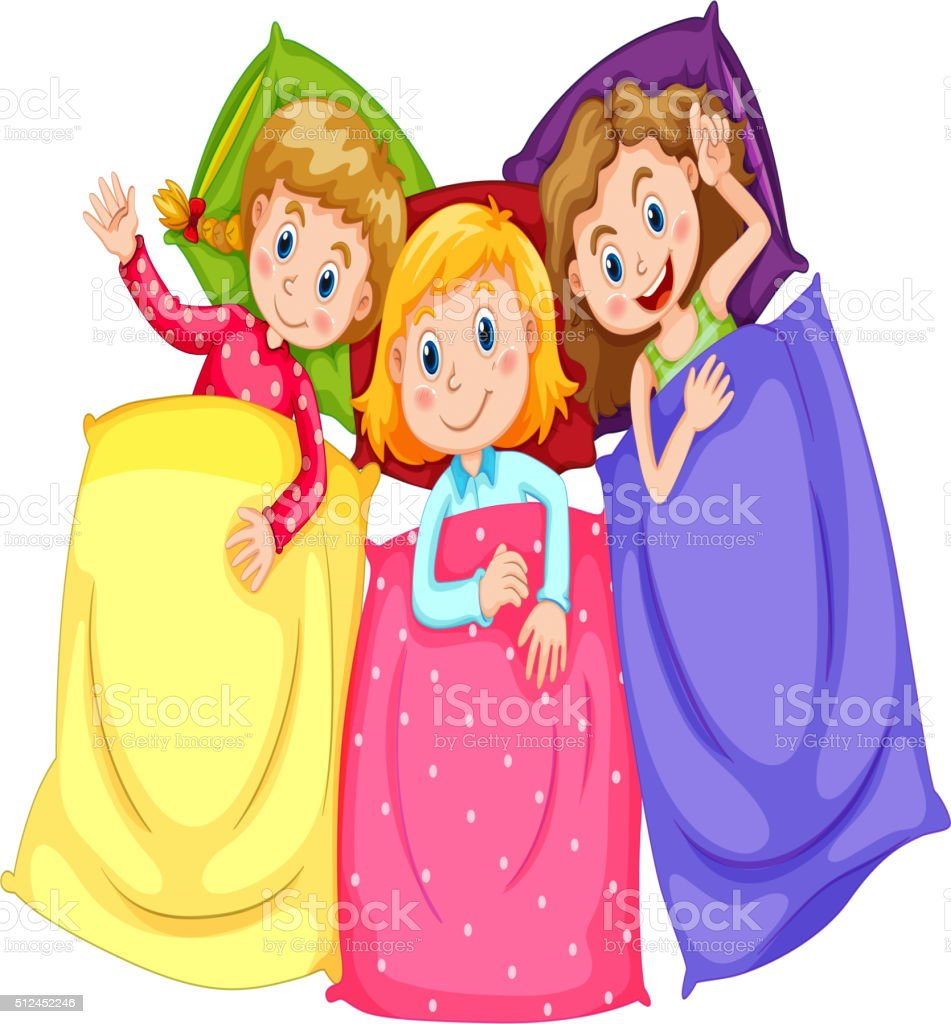 Girls in pajamas at slumber party vector art illustration