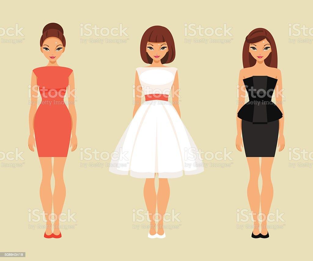 Girls in red, white and black dresses vector art illustration
