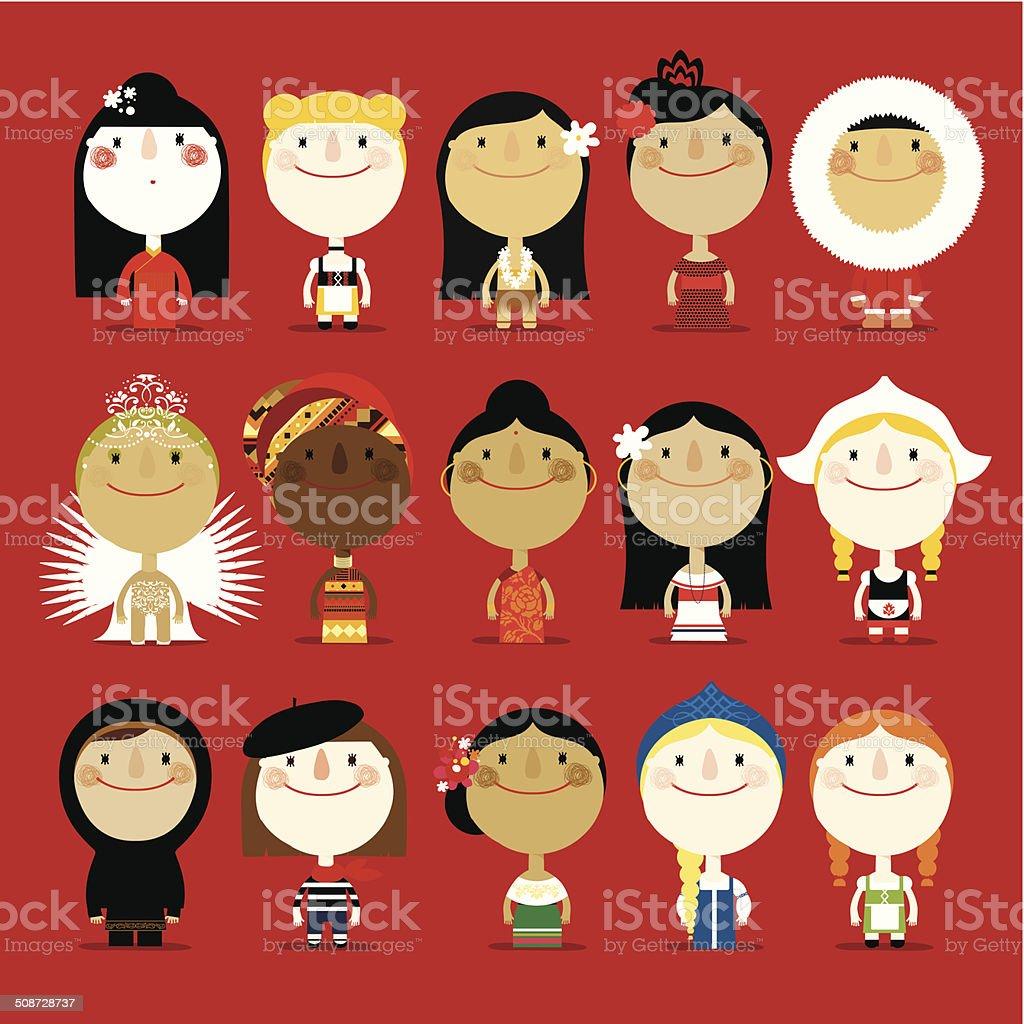 Girls in traditional costumes vector art illustration