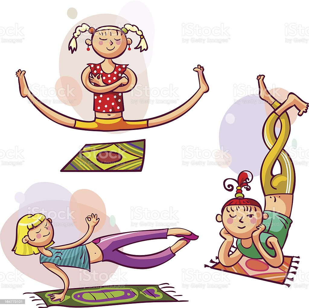 Girls in yoga poses royalty-free stock vector art