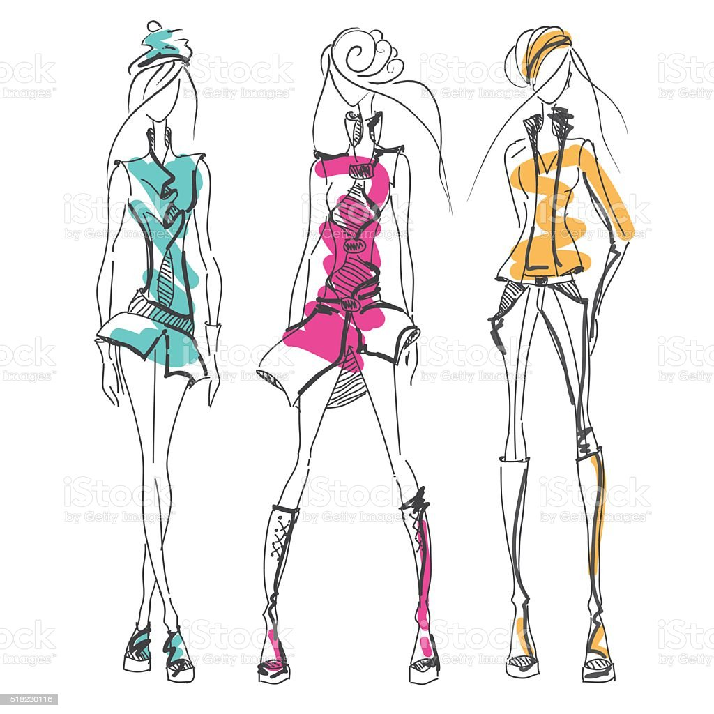 Girls jacket color vector art illustration
