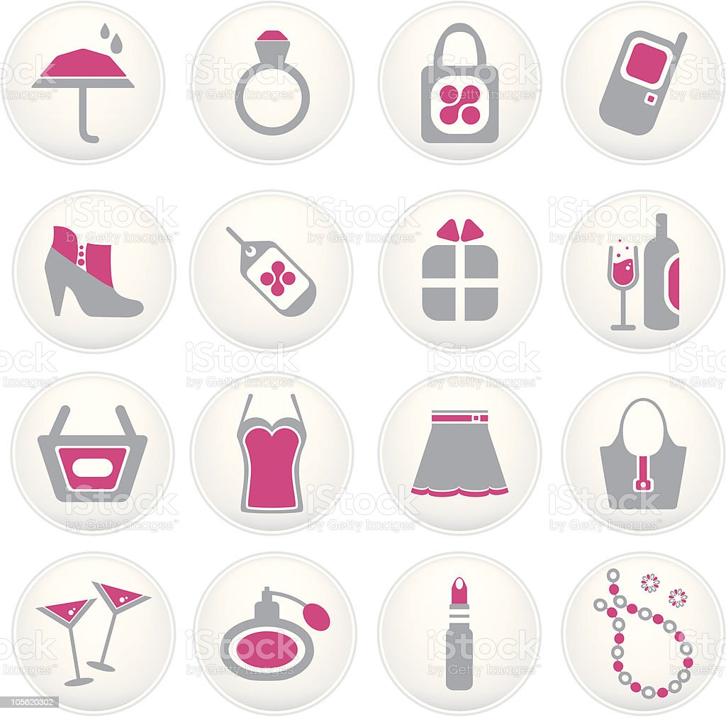 Girls night out icons in pink and grey royalty-free stock vector art