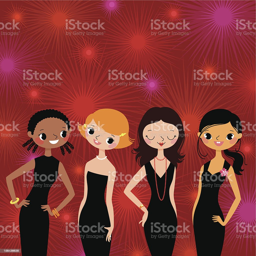 Girls on a Party. royalty-free stock vector art