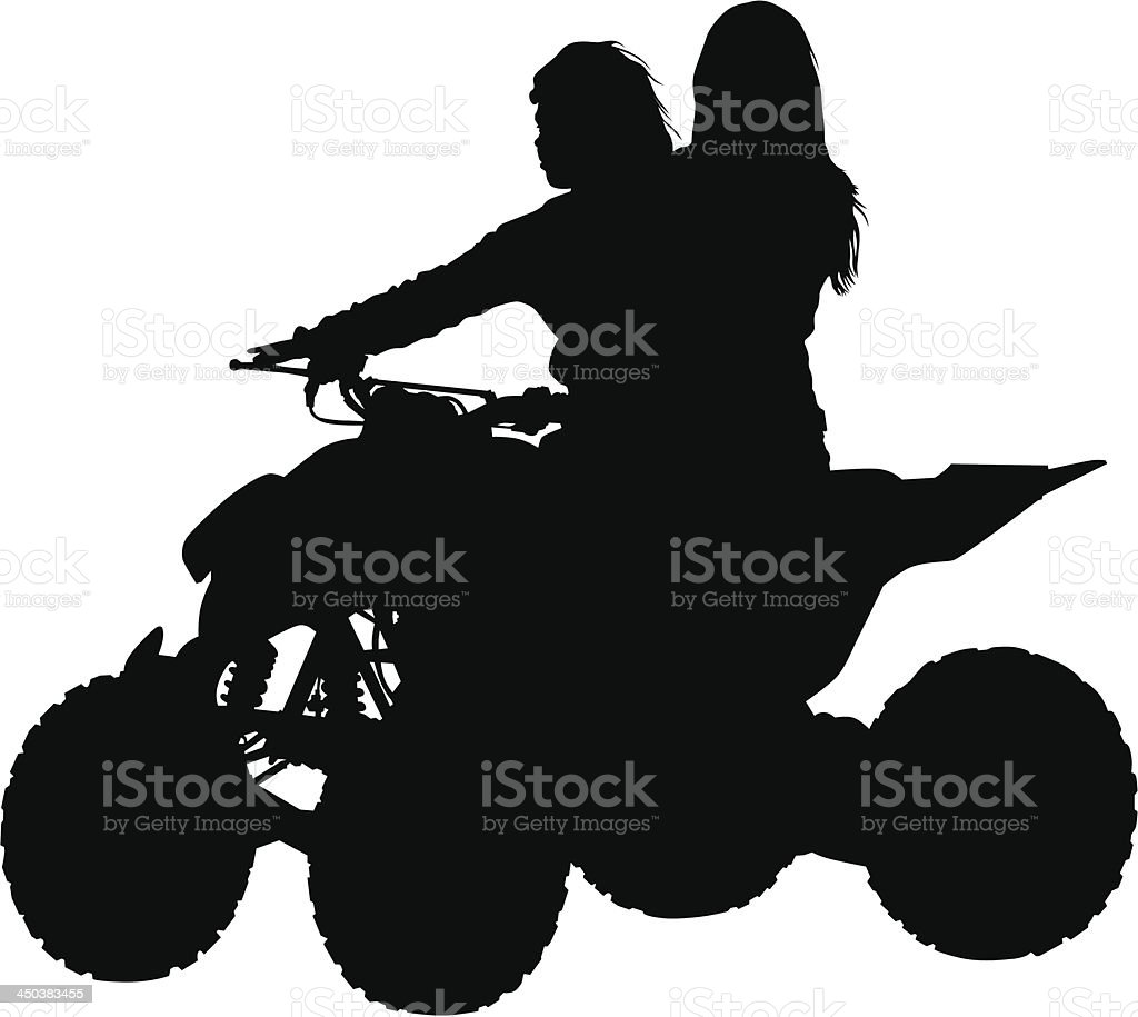 Girls on ATV royalty-free stock vector art
