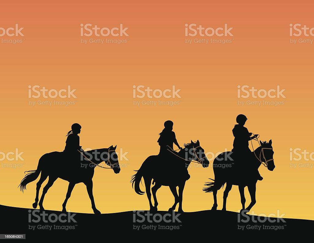 Girls on horseback vector art illustration