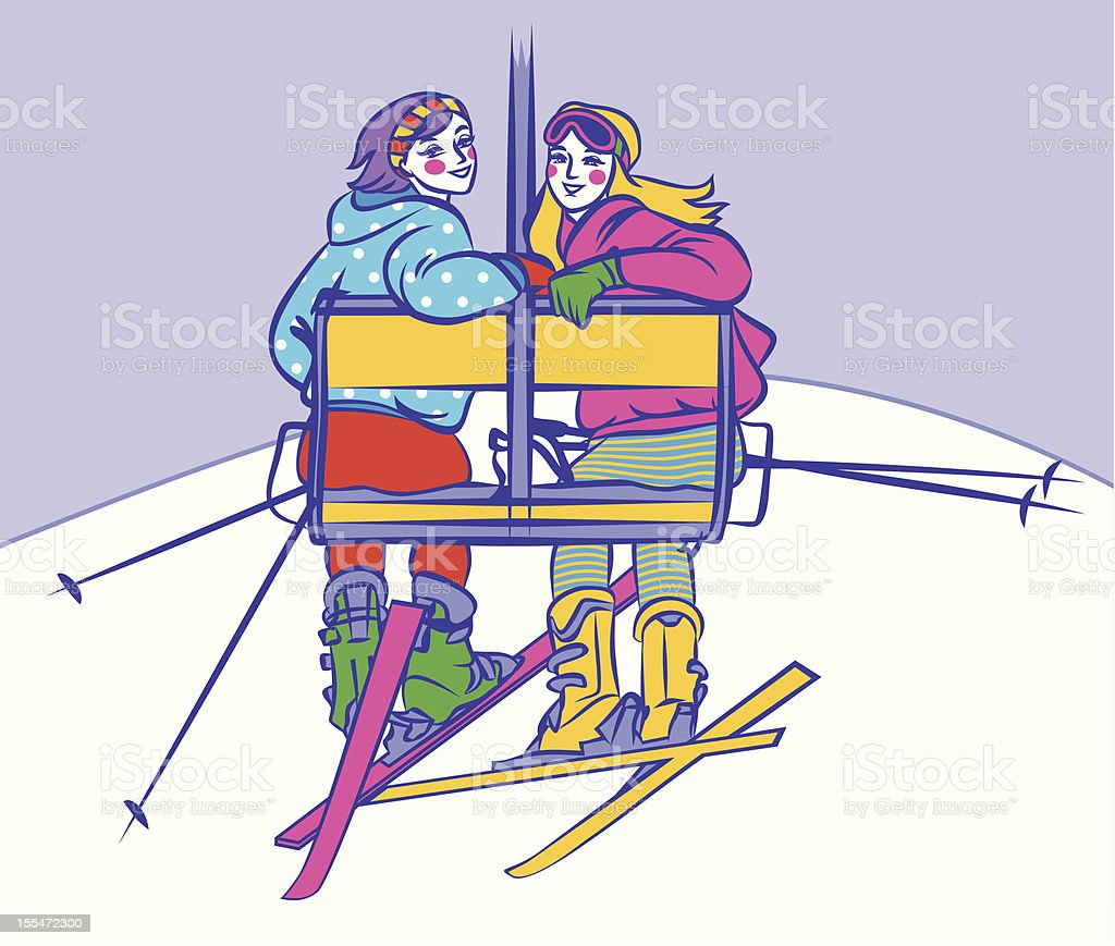 Girls on ski lift vector art illustration