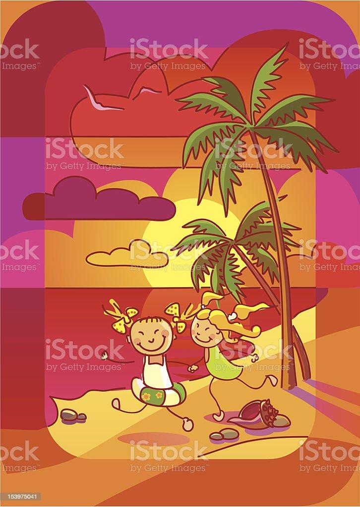 Girls on the beach royalty-free stock vector art