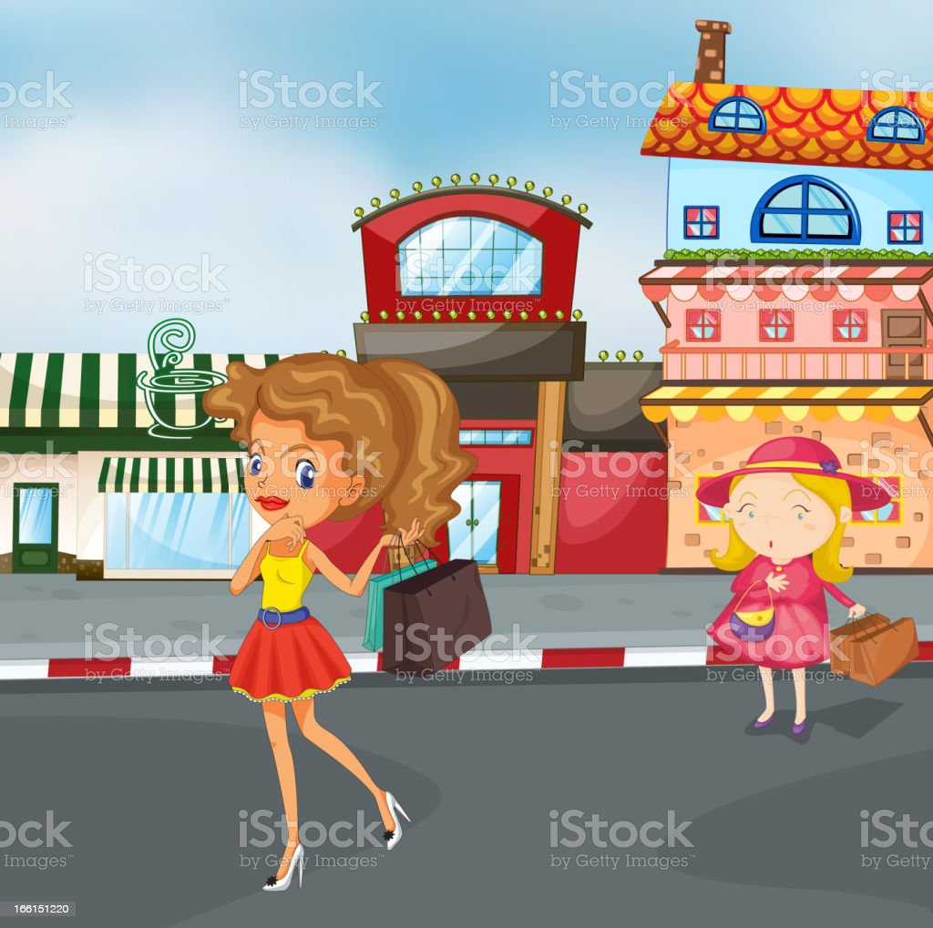 Girls on the road royalty-free stock vector art