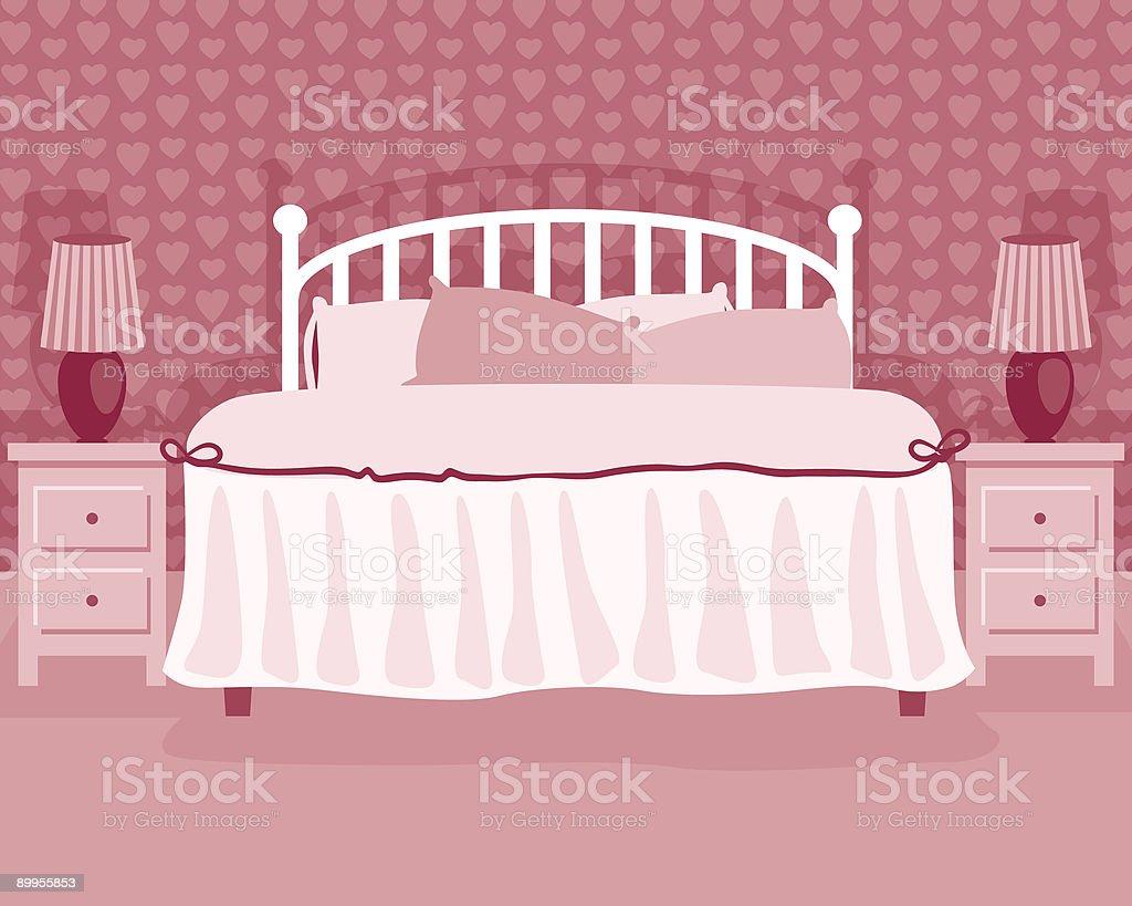 Girl's Pink Bedroom vector art illustration