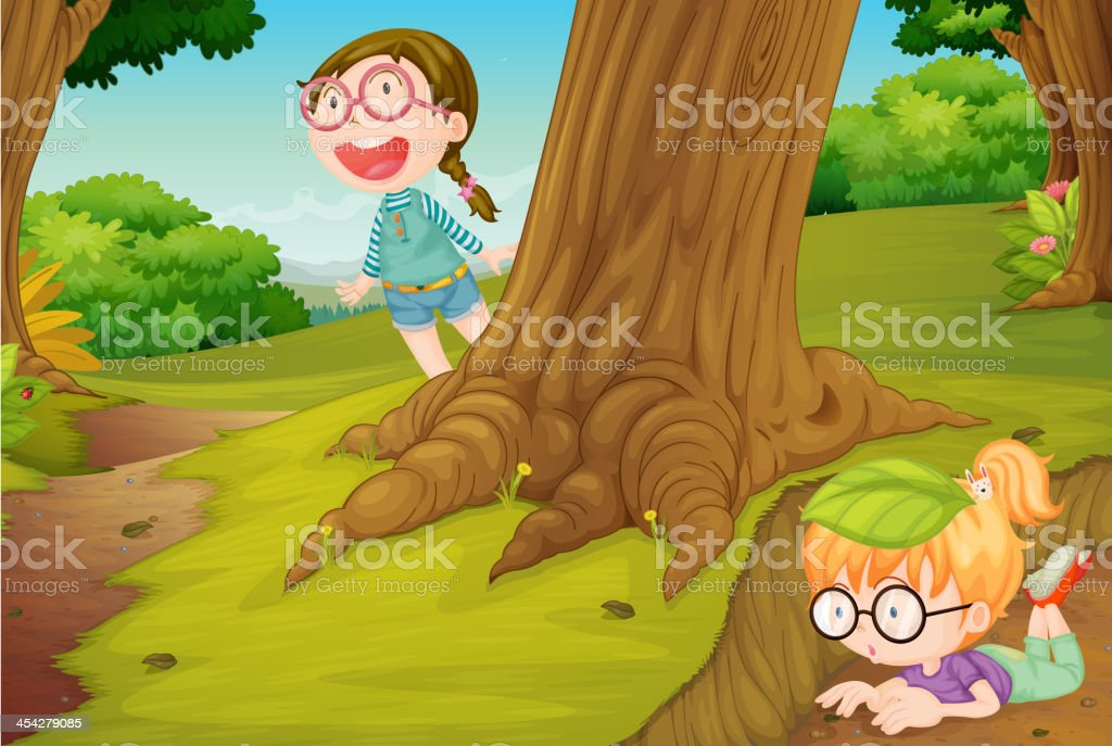 girls playing  hide and seek in nature vector art illustration