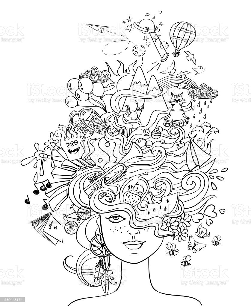 Girl's Portrait With Crazy Hair - Lifestyle Concept. vector art illustration