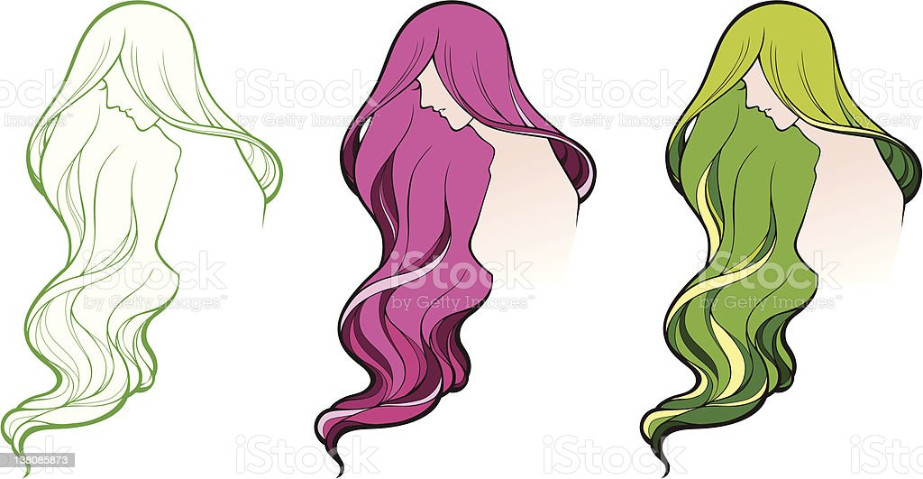 Girl's Profil Lizenzfreies vektor illustration