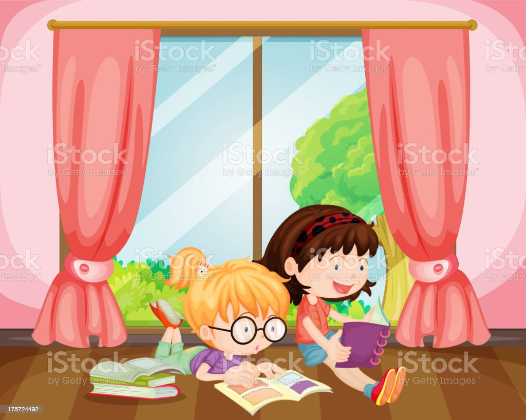 Girls reading book royalty-free stock vector art