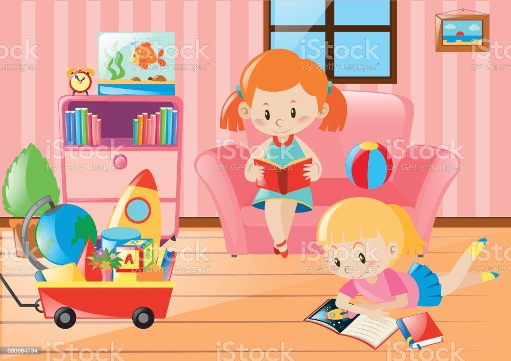 Girls Reading Books In Living Room Royalty Free Stock Vector Art