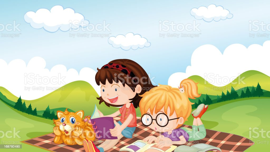 Girls reading with an animal royalty-free stock vector art