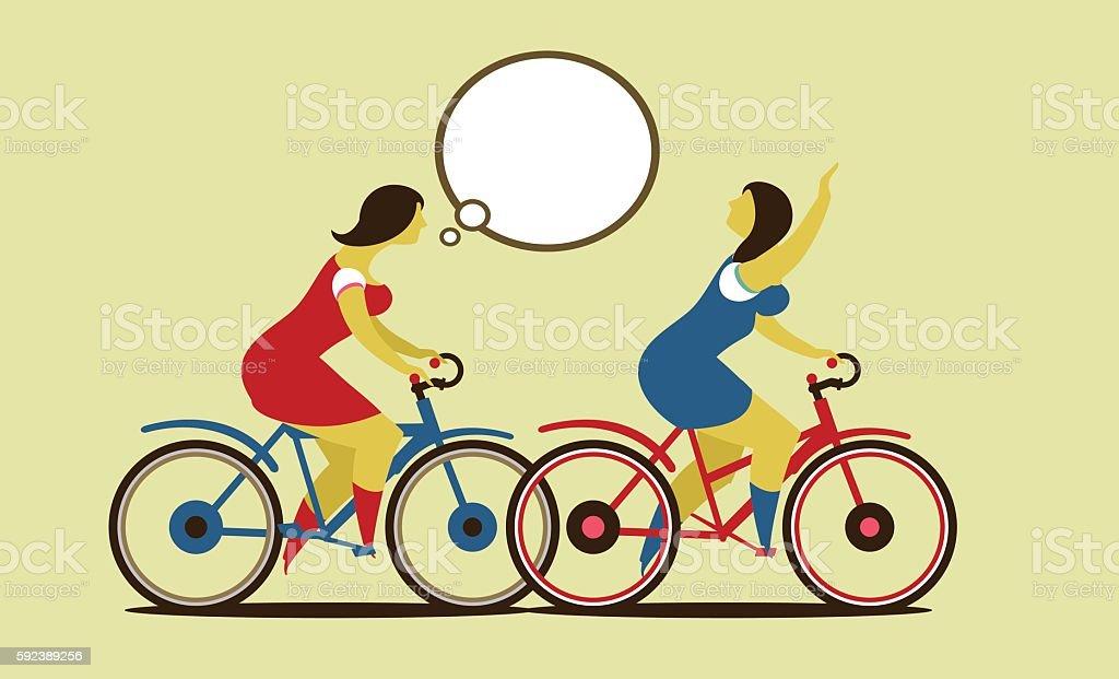 Girls ride on the bike vector art illustration