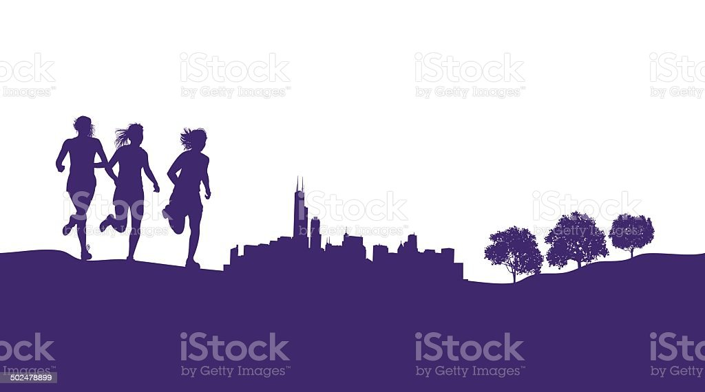 Girls Running or Jogging Graphic Background vector art illustration