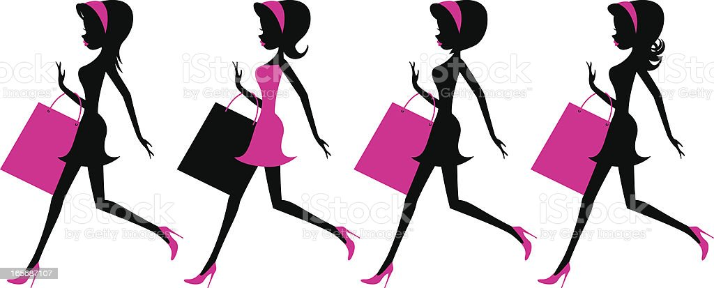 Girls running with shopping bags royalty-free stock vector art