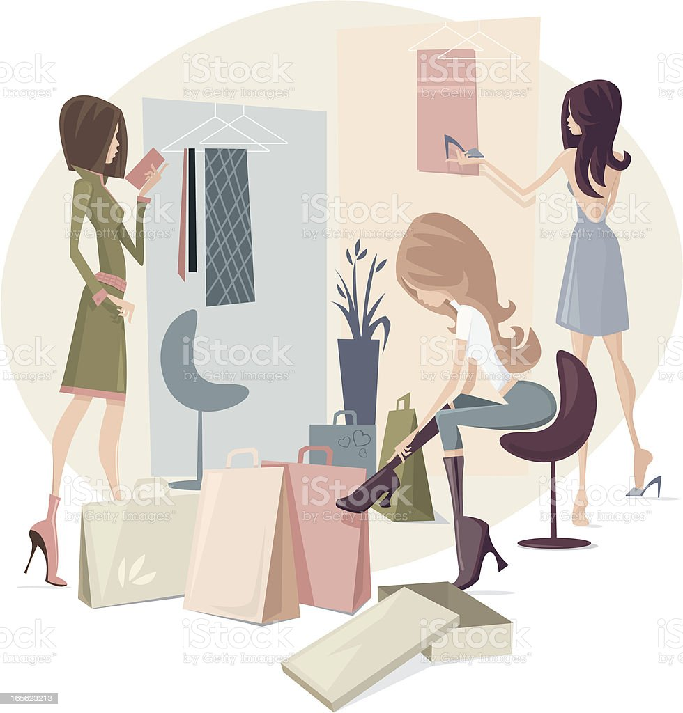 Girls Shopping vector art illustration