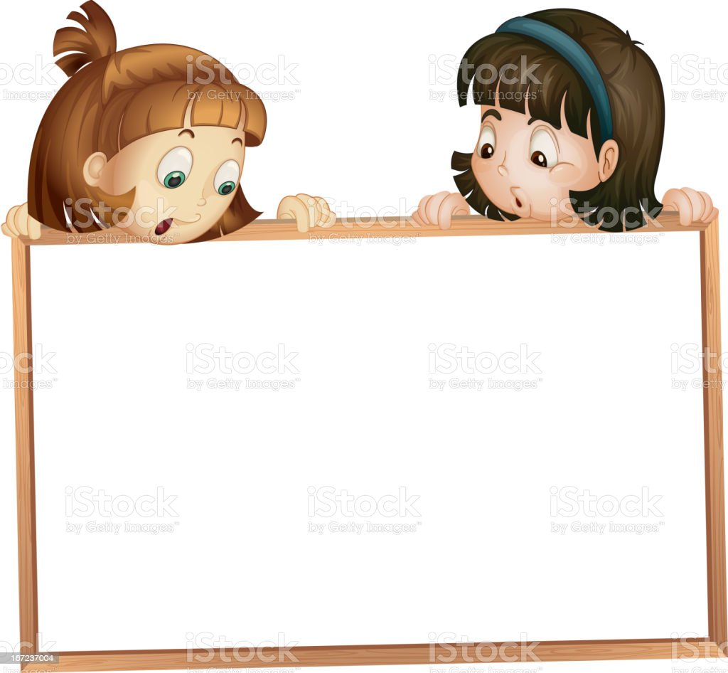Girls showing board royalty-free stock vector art