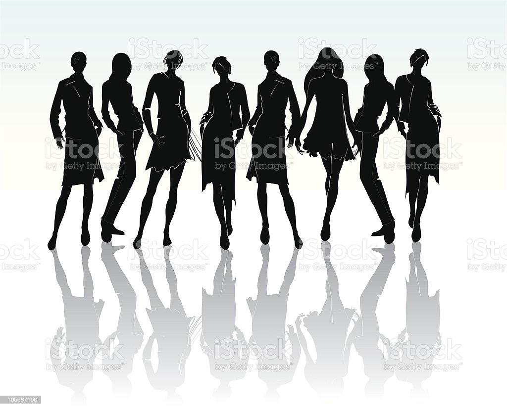 Girls silhouette with the reflection royalty-free stock vector art