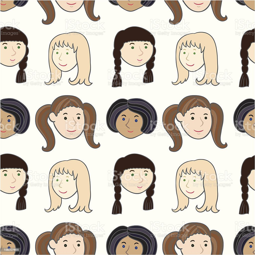 Girls smiling faces pattern royalty-free stock vector art