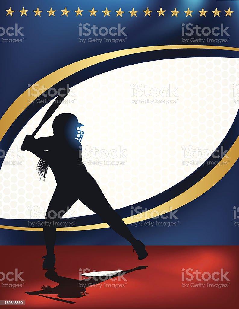 Girls Softball All-Star Background - Batter royalty-free stock vector art