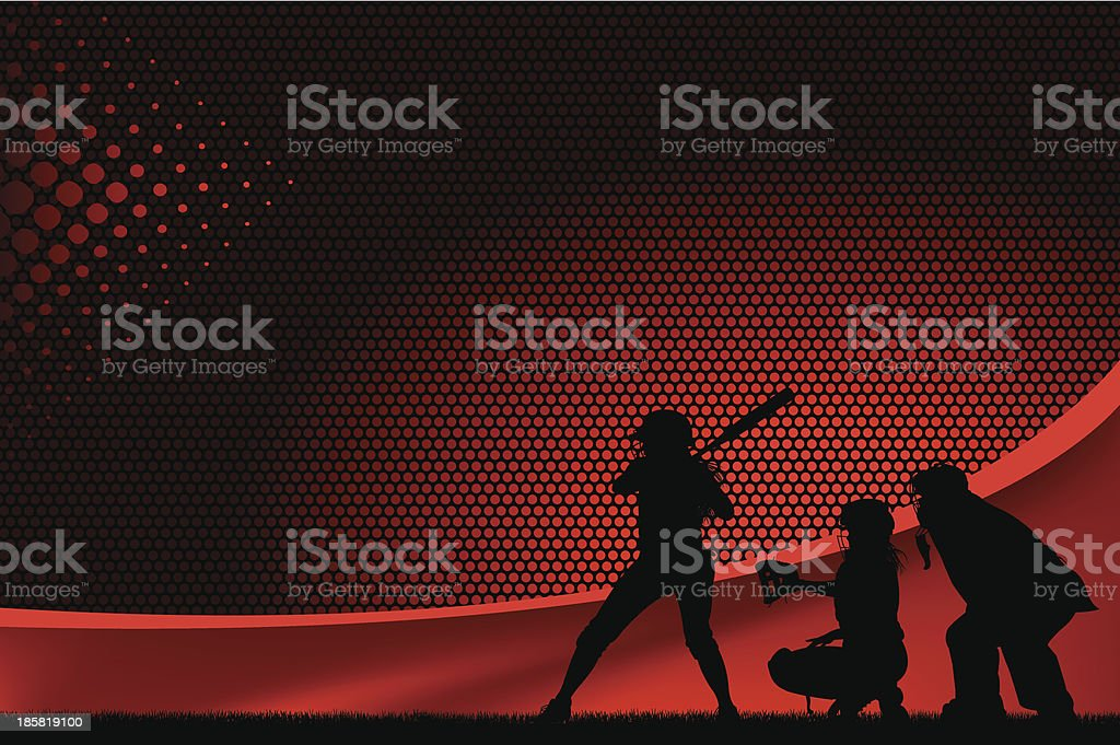 Girls Softball All-Star Batter Background royalty-free stock vector art