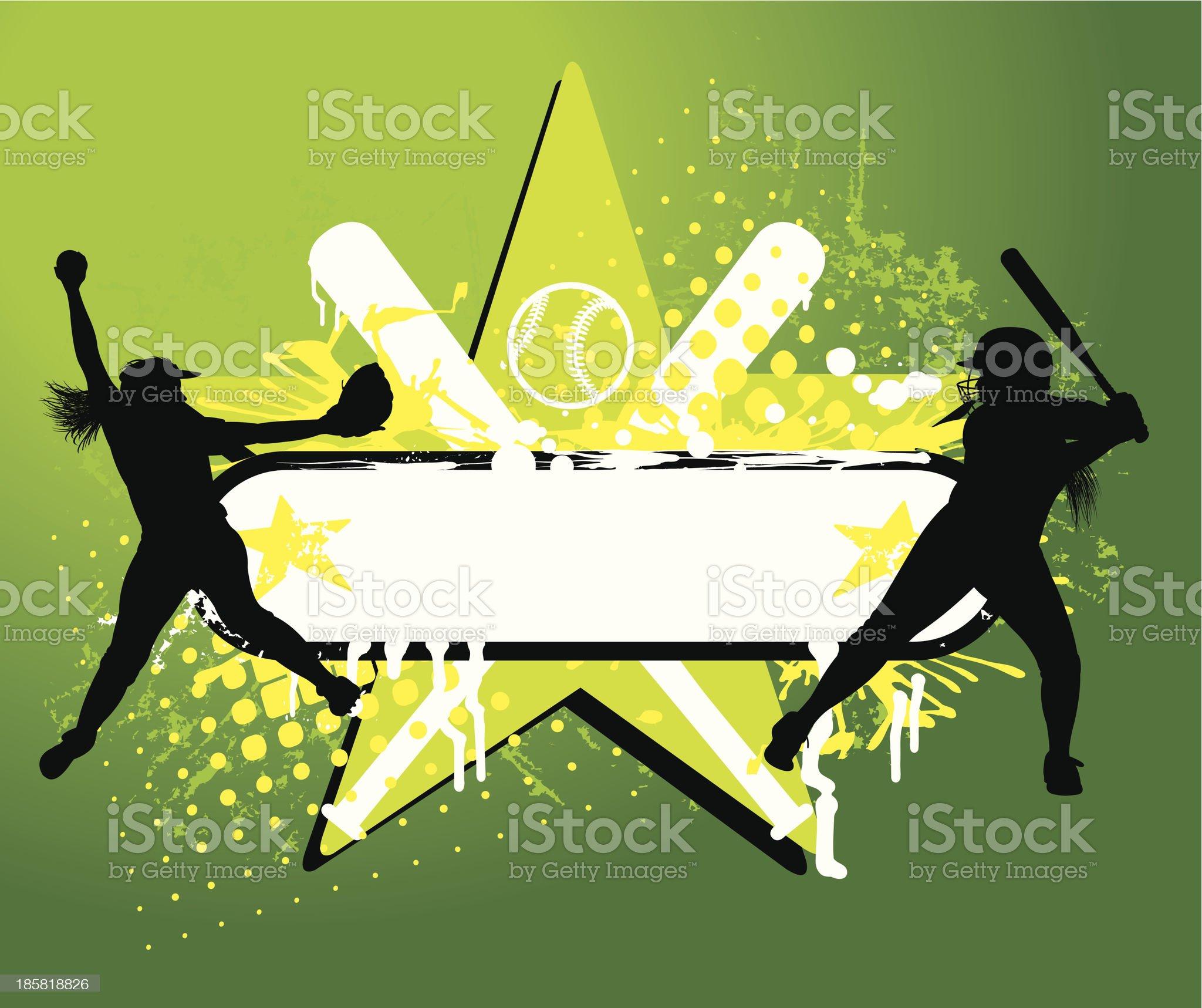 Girls Softball All-Star Grunge Background - Batter, Pitcher royalty-free stock vector art