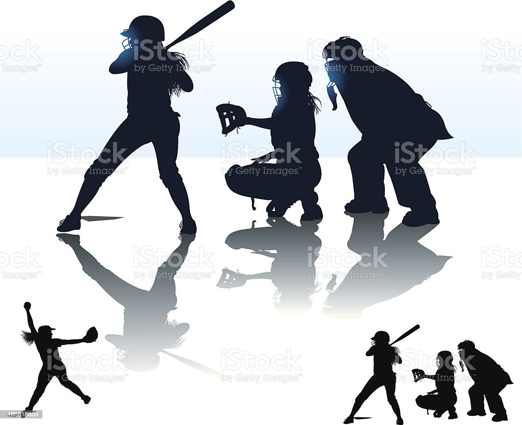 Girls Softball - At Bat, Catcher, Batter, Umpire, Pitcher vector art illustration