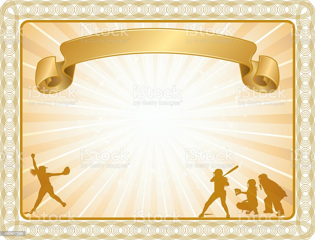 Girls Softball Award Certificate or Try-Outs Background vector art illustration